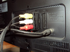 The backside of a TV and the SCART port