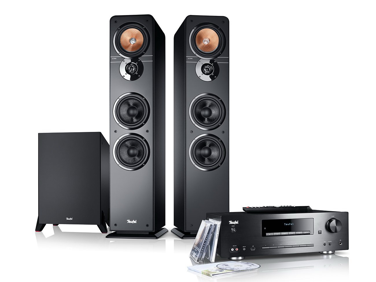 Stereoanlange Ultima 40 Kombo Power Edition zwei Standlautsprecher, Subwoofer und Receiver