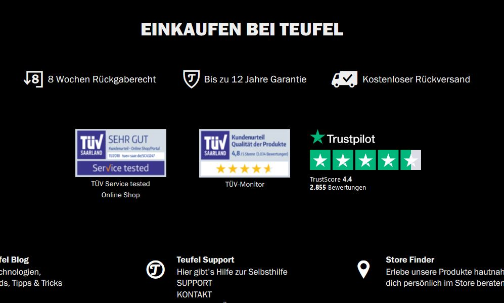 Screenshot Teufel Online-Shop Gütesiegel