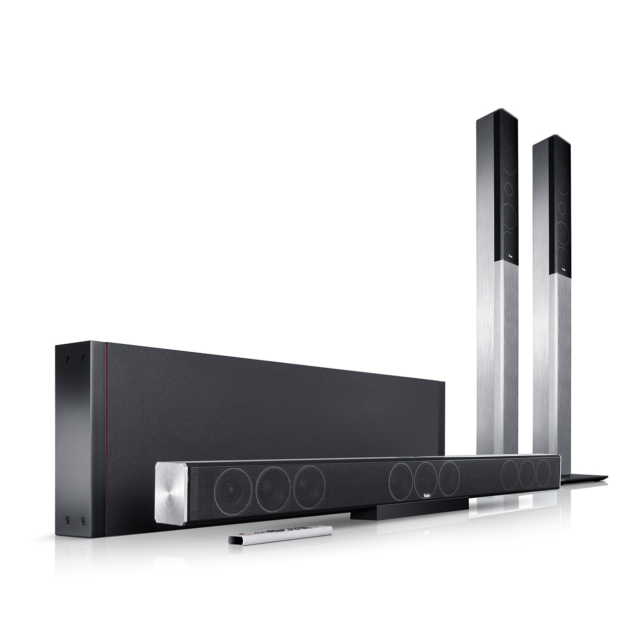 Cinebar Trios soundbar with wireless surround speakers and subwoofer