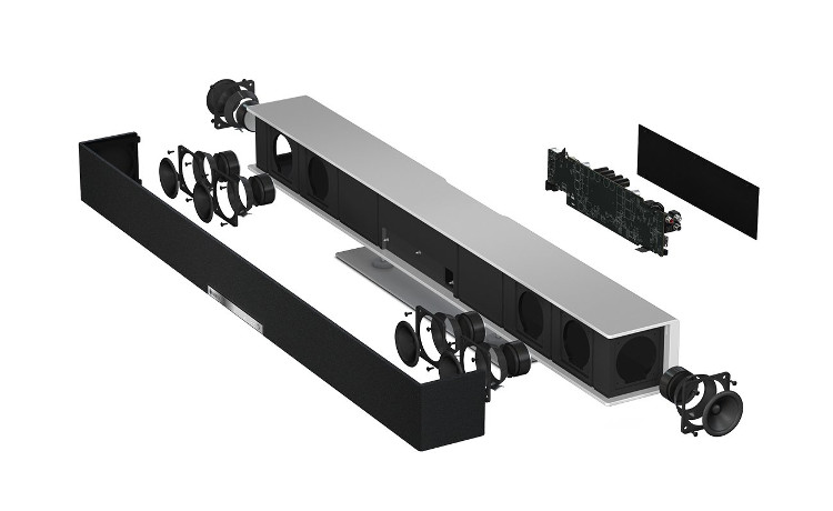 Speaker architecture of the Raumfeld Soundbar for playback of virtual surround sound