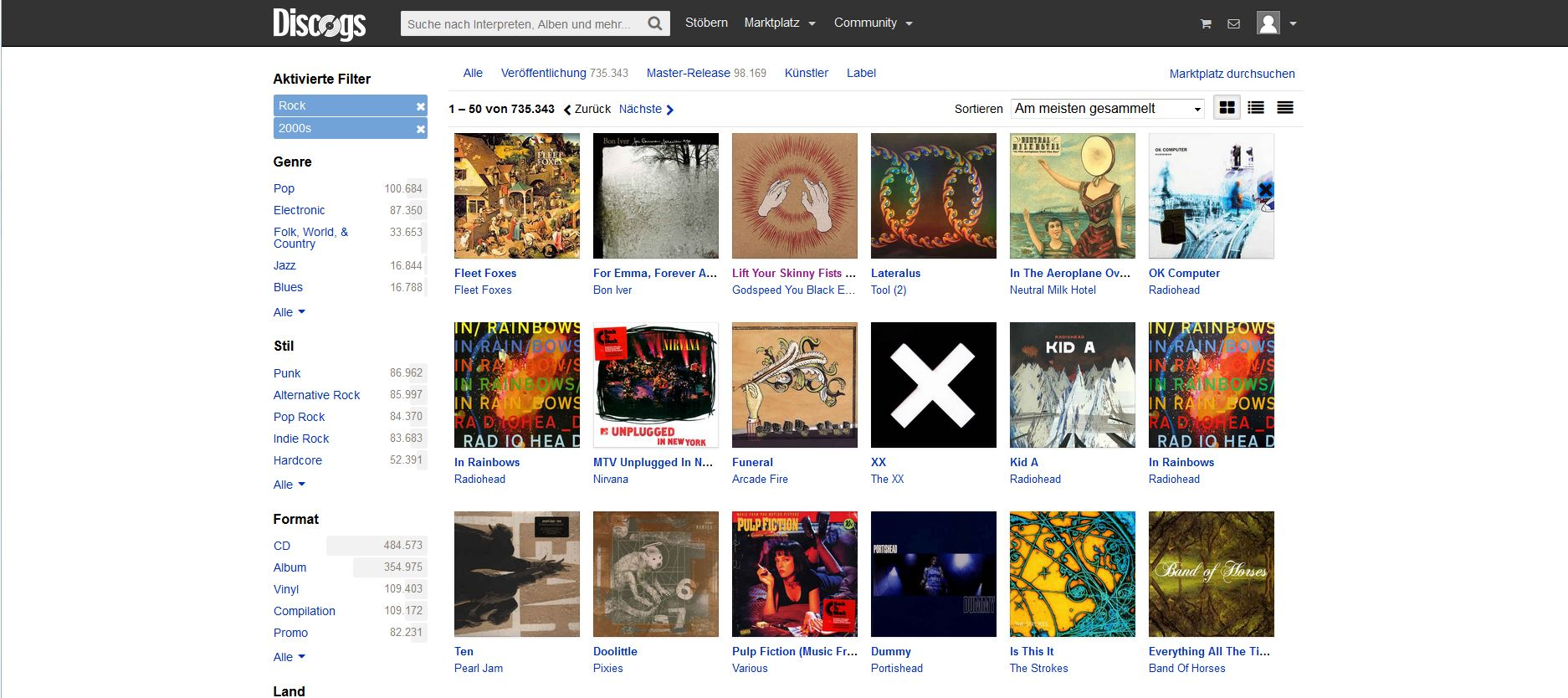 The screenshot shows the Browse section of Discogs. You can search for new music.