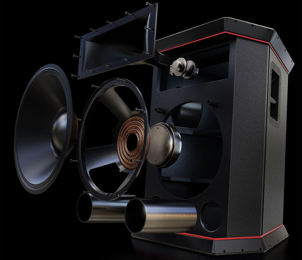 Individual acoustic components of the Rockster including horn loudspeaker