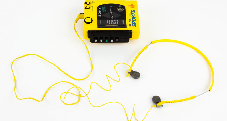 Yellow WM-F63 Walkman product image against white background